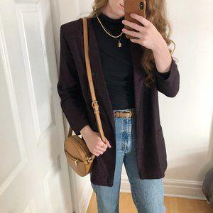 Vintage Parisian Long Oversized Pink & Black Tweed Knit Open Blazer Jacket Coat